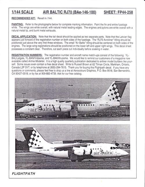1/144 Scale Decal Air Baltic BAe 146-100