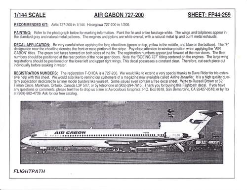 1/144 Scale Decal Air Gabon 727-200