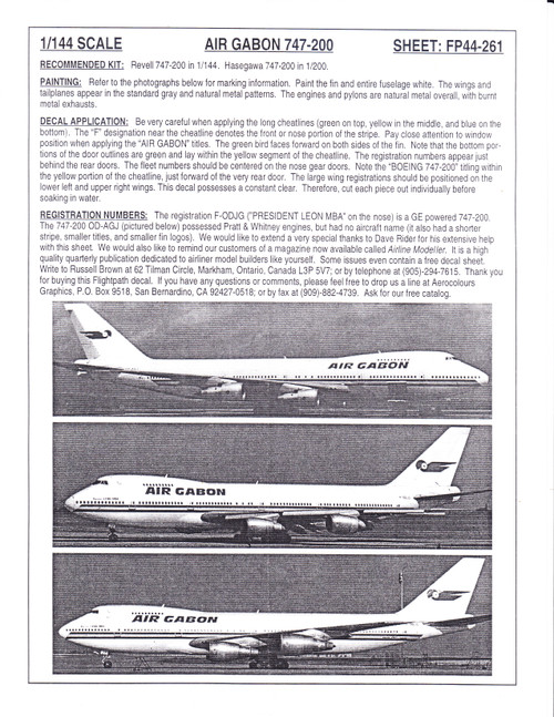 1/144 Scale Decal Air Gabon 747-200