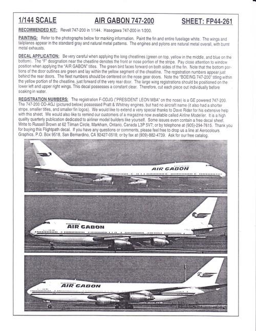 1/144 Scale Decal Air Gabon 747-200