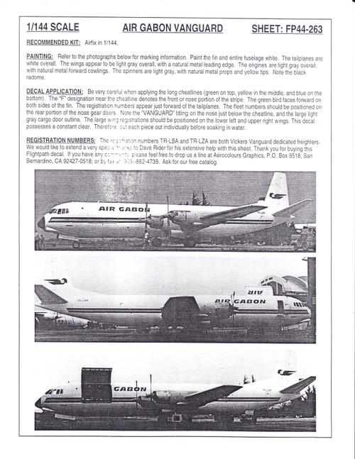 1/144 Scale Decal Air Gabon Vanguard