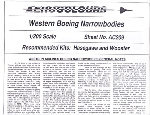 1/200 Scale Decal Western Narrowbodies