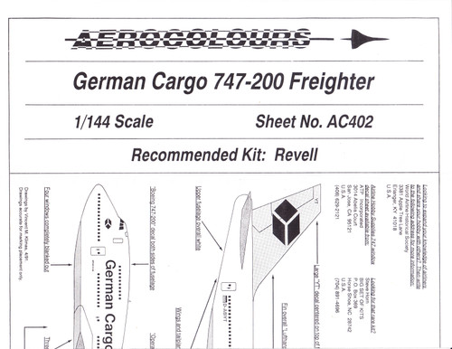 1/144 Scale Decal German Cargo 747-200F