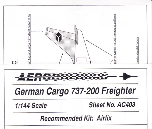 1/144 Scale Decal German Cargo 737-200F