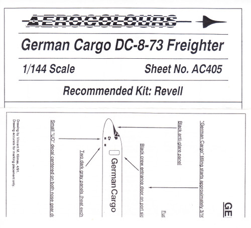 1/144 Scale Decal German Cargo DC8-73F