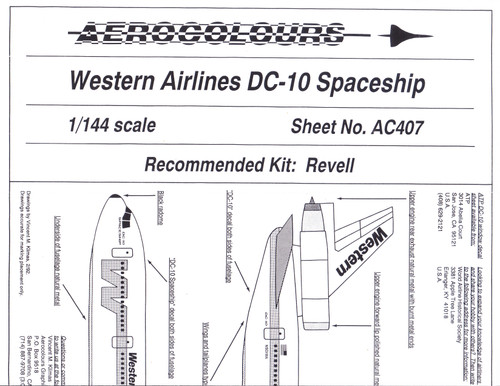 1/144 Scale Decal Western DC-10 Spaceship