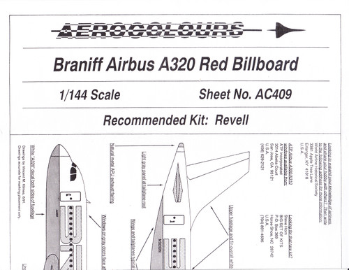 1/144 Scale Decal Braniff A-320 RED Billboard