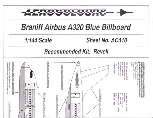1/144 Scale Decal Braniff A-320 BLUE Billboard