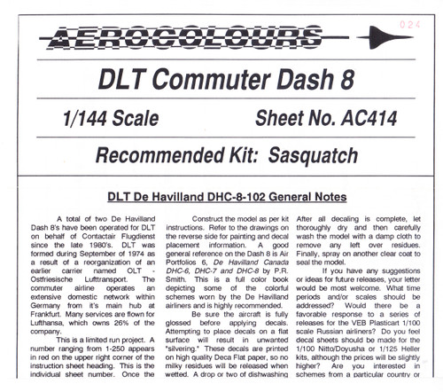 1/144 Scale Decal DLT Commuter Dash 8