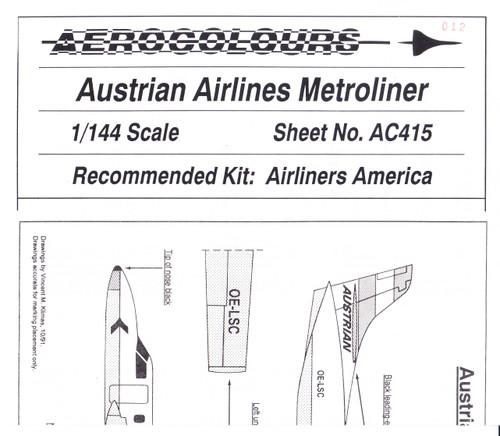 1/144 Scale Decal Austrian Metroliner