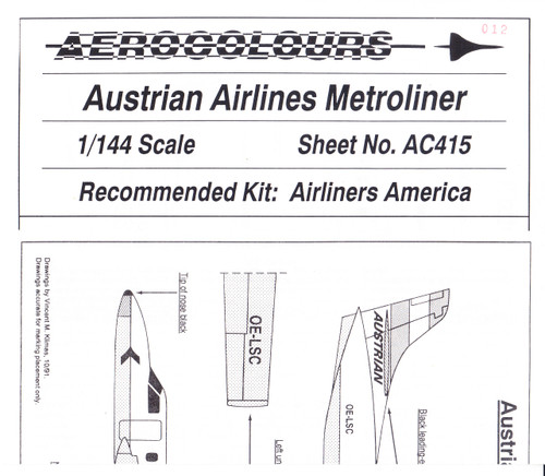 1/144 Scale Decal Austrian Metroliner