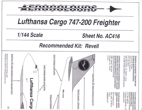 1/144 Scale Decal Lufthansa Cargo 747-200F