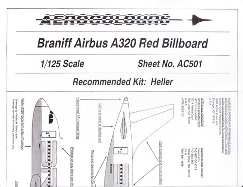 1/125 Scale Decal Braniff A-320 RED Billboard