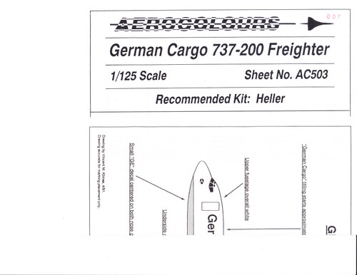 1/125 Scale Decal German Cargo 737-200