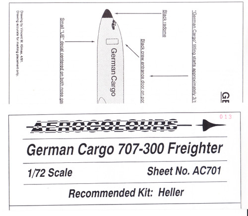 1/72 Scale Decal German Cargo 707-300F