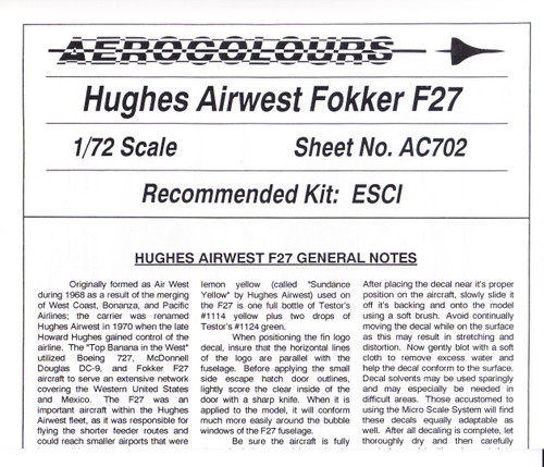 1/72 Scale Decal Hughes Air West F-27