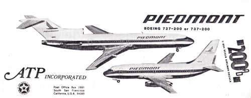 1/200 Scale Decal Piedmont 737-200 / 727-200