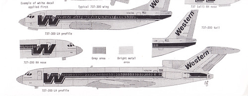 1/200 Scale Decal Western 737-200 / 727-200