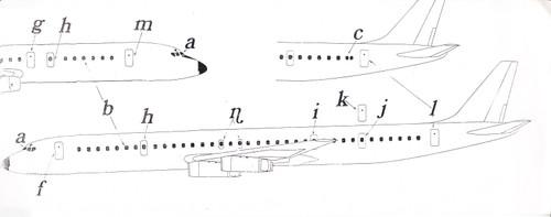 1/200 Scale Decal DC-8 Cockpit,Windows & Doors