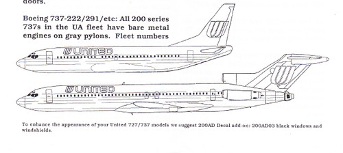 1/200 Scale Decal United 727 / 737 / 757