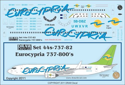 1/144 Scale Decal Eurocypria 737-800