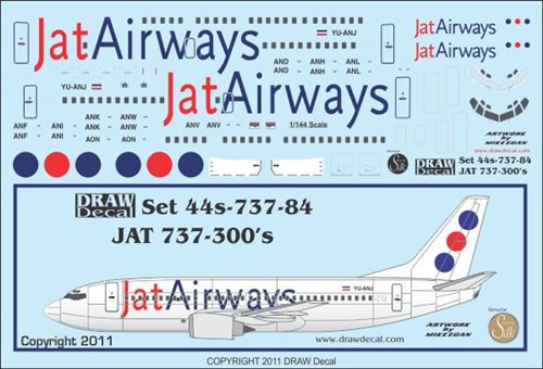 1/144 Scale Decal JAT 737-300