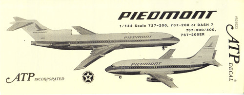 1/144 Scale Decal Piedmont 727 / 737 / 767 Henson Dash 7