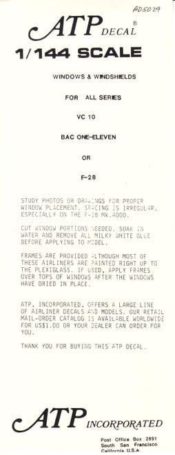 1/144 Scale Decal Cockpit & Windows VC-10 / BAC-111 / F-28