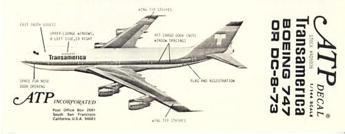 1/144 Scale Decal Transamerica DC8-73 / 747