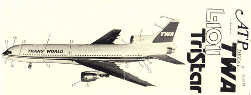 1/144 Scale Decal TWA - Trans World L-1011