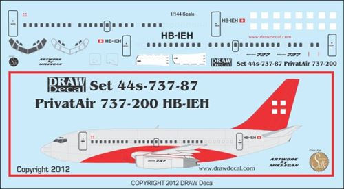 1/144 Scale Decal Privatair 737-200