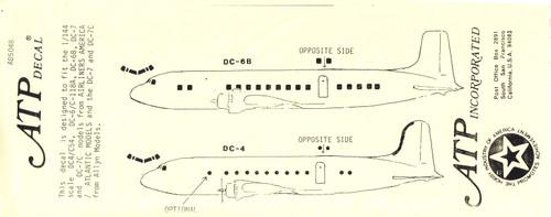 1/144 Scale Decal Cockpit / Windows DC-4 / C-54 / DC-6 / C-118 / DC-7