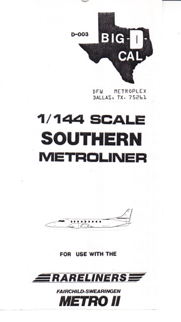 1/144 Scale Decal Southern Metroliner II