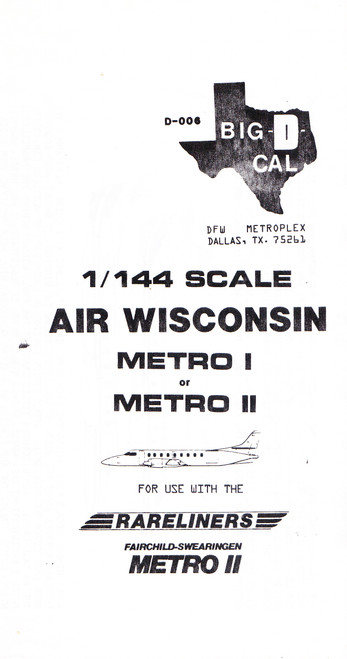 1/144 Scale Decal Air Wisconsin Metro I & II