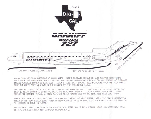 1/144 Scale Decal Braniff 727