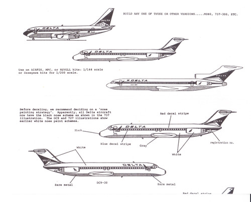 1/200 Scale Decal Delta 727 / 737 / DC-9 / MD-80
