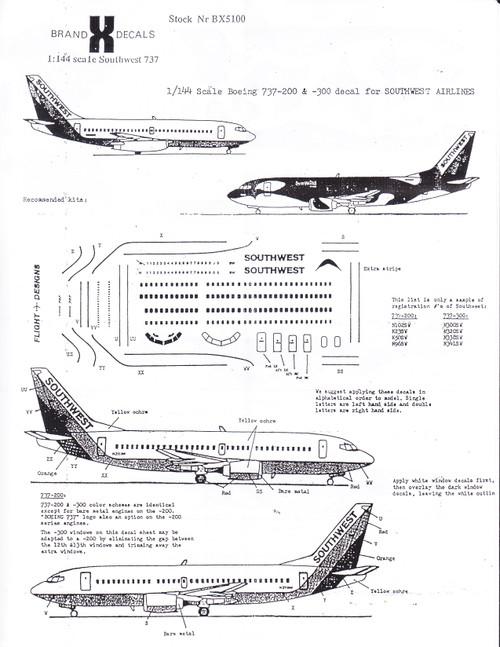 1/144 Scale Decal Southwest 737-300 SHAMU