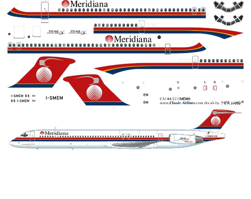 1/144 Scale Decal Meridiana MD-80