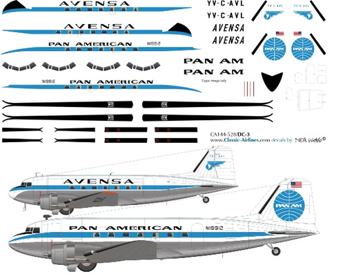 1/144 Scale Decal Pan Am & Avensa DC-3