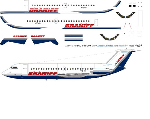 1/144 Scale Decal Braniff Express BAC-111