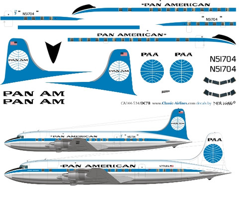 1/144 Scale Decal Pan Am DC-7 Experimental