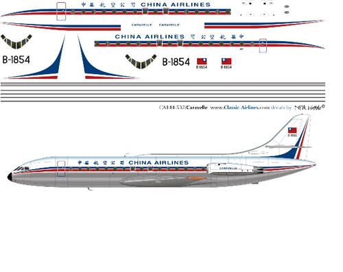 1/144 Scale Decal China Airlines Caravelle