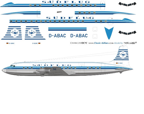 1/144 Scale Decal Sudflug DC-7C