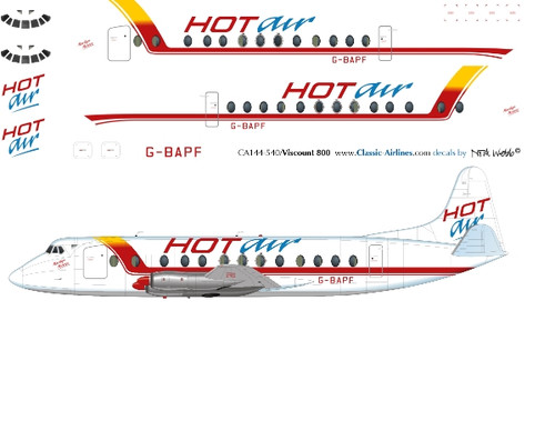 1/144 Scale Decal Hot Air Viscount 800