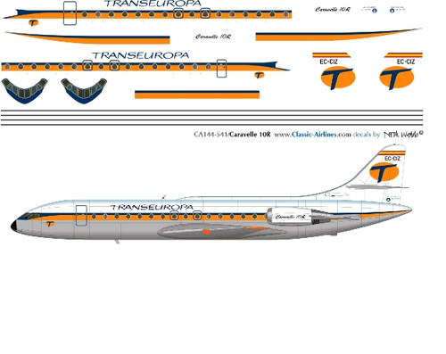 1/144 Scale Decal Trans Europa Caravelle