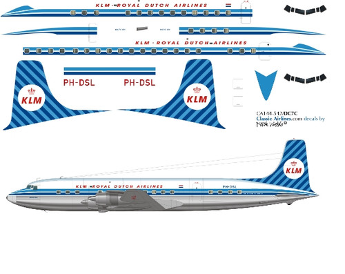 1/144 Scale Decal KLM DC-7C (second)