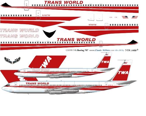1/144 Scale Decal TWA 707 Last