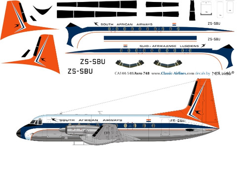 1/144 Scale Decal South African HS-748