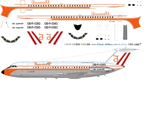 1/144 Scale Decal Faucett BAC-111