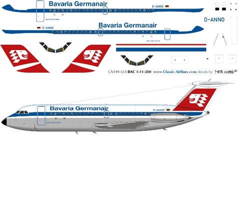 1/144 Scale Decal Bavaria Germanair BAC-111